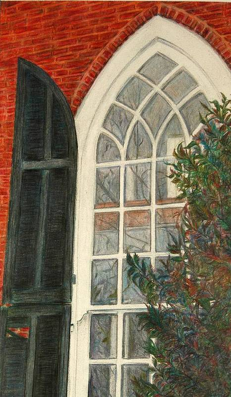 Colored Pencil Poster featuring the drawing Church Window by Lois Guthridge
