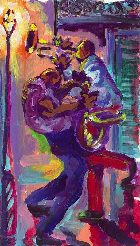 Dancing Poster featuring the painting Dancing To The Music by Saundra Bolen Samuel