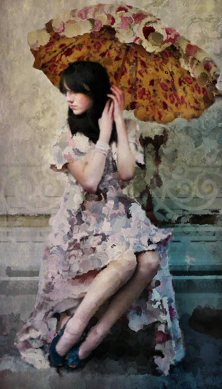 Portrait Poster featuring the photograph Girl With Parasol by Elena Nosyreva