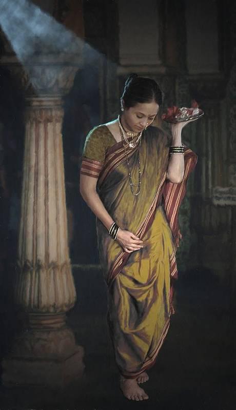 Lady Poster featuring the digital art Morning Pooja by Shreeharsha Kulkarni