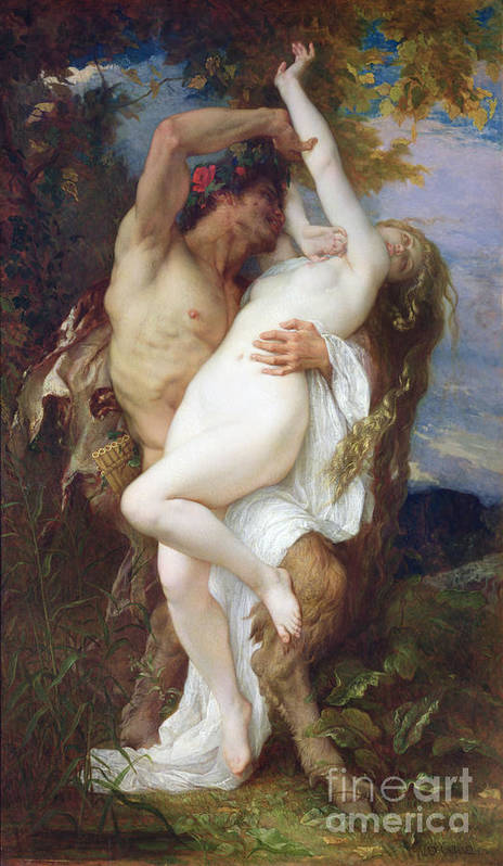 Pan Pipes Poster featuring the painting Nymph Abducted By A Faun by Alexandre Cabanel