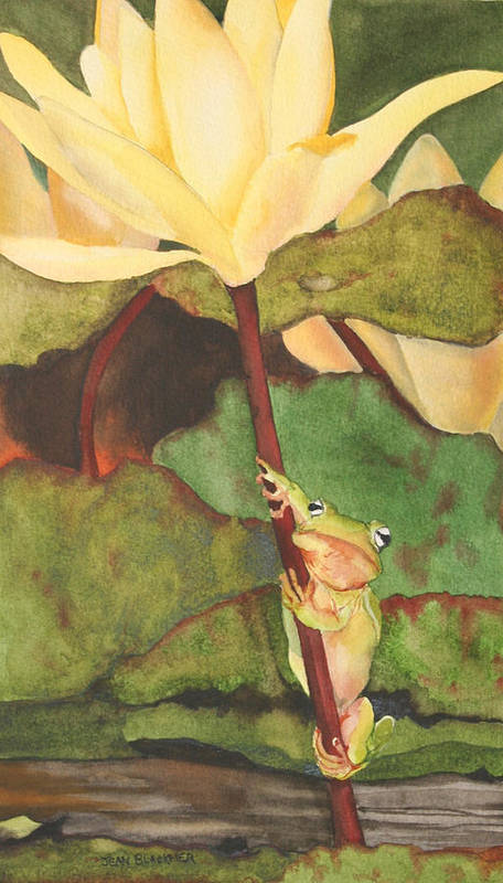 Frog Poster featuring the painting Peeping Tom by Jean Blackmer
