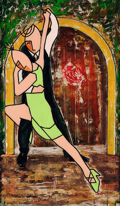 Green Tango Poster featuring the mixed media Tango Green by Victor Madero