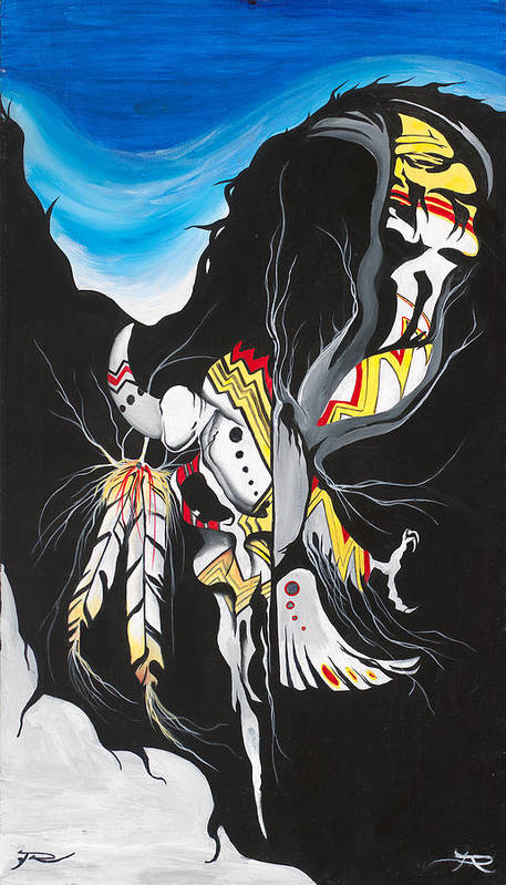 Native Poster featuring the painting Within Us by Dallas Poundmaker