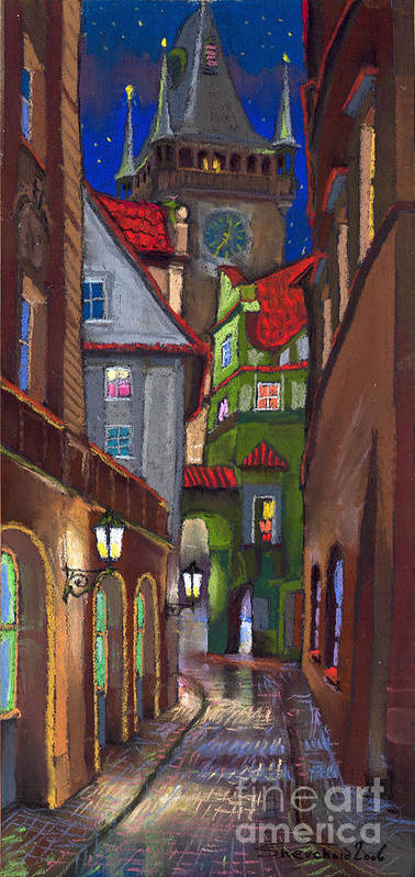 Pastel Poster featuring the painting Prague Old Street by Yuriy Shevchuk