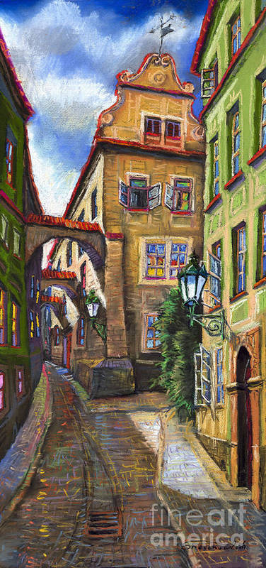 Prague Poster featuring the painting Prague Old Street by Yuriy Shevchuk