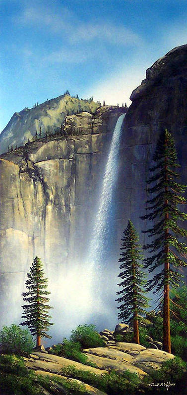Landscape Poster featuring the painting Majestic Falls by Frank Wilson