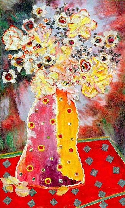 Flowers In A Vase Poster featuring the mixed media Aurora Borealis by Diane Fine