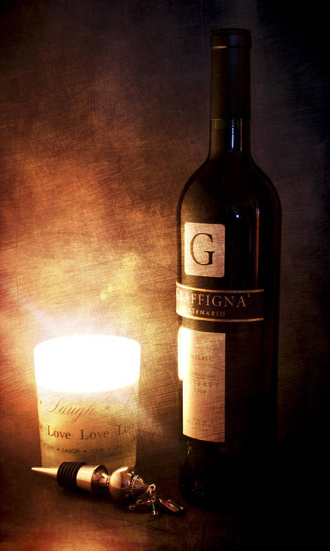 Still Life Poster featuring the photograph Candle Wine by Peter Chilelli