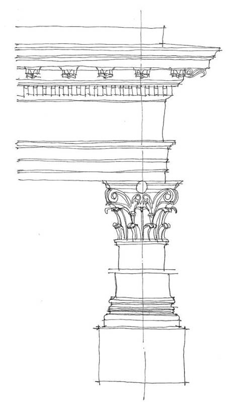 Architecture Poster featuring the drawing Corinthian Order by Calvin Durham