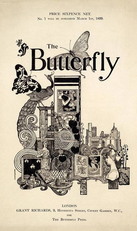 Front Cover Poster featuring the drawing Cover Of The Butterfly Magazine by English School