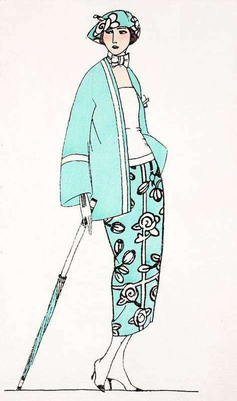 Poster featuring the painting Design For A Day Dress C 1919 by French School