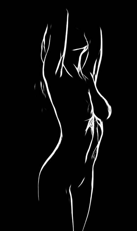 Female Woman Body Nude Breast Tits Scape Figure Curve Curves Painting Naked Black White Erotic 裸 Girl Sex Intimate Virgin Boobs Butt Innocence Male Men Man Lover Love Couple Kiss Intimo Erotico Vergine Culo Tette Innocenza Fille Femme Sexe Erotique Seduction Lust Black White Love Making Faith Long Hair Expressionism Impressionism Ass Innocence Minimalism Poster featuring the painting Erotic Girl by Steve K