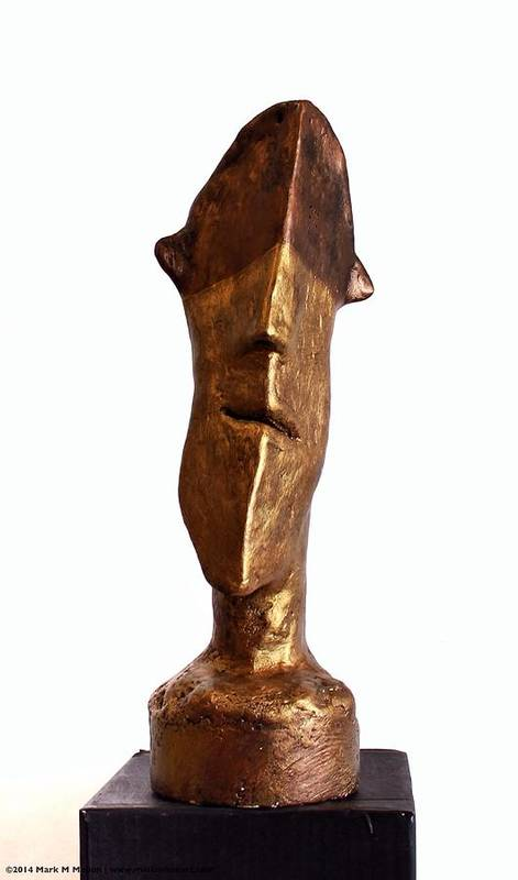 Figure Poster featuring the sculpture Fabulas Bronze And Gold Idol by Mark M Mellon