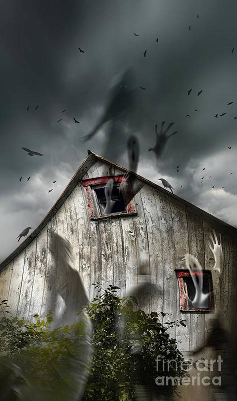 Aged Poster featuring the photograph Haunted Barn With Ghosts Flying And Dark Skies by Sandra Cunningham