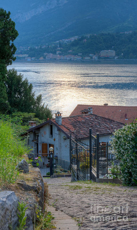 Lake Poster featuring the photograph Lake View Down To Lake Como In Italy by Anna-Mari West
