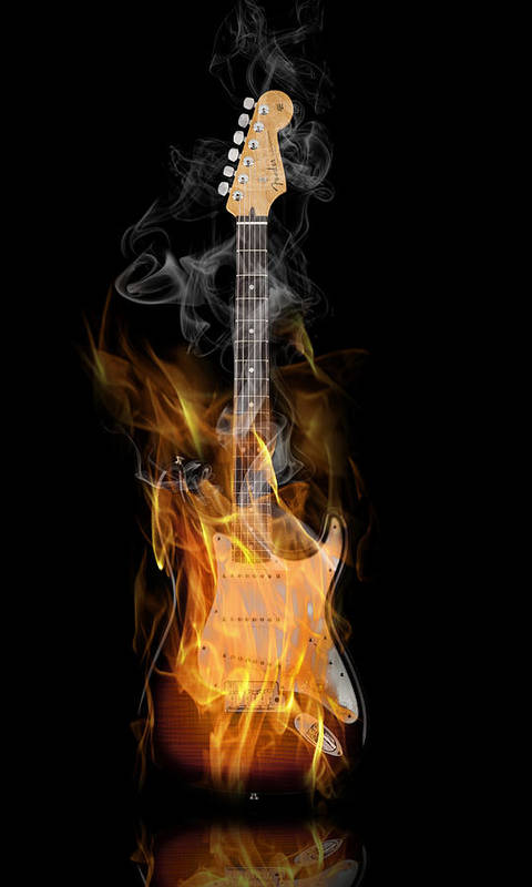 Fender Poster featuring the digital art Light My Fire by Peter Chilelli