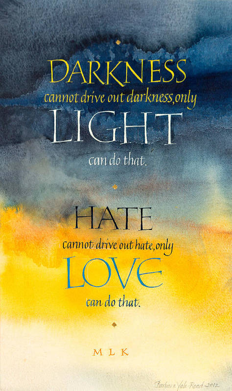 Calligraphy Poster featuring the mixed media Only Love by Barbara Yale-Read