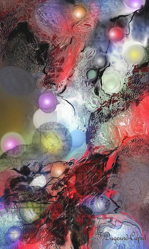 Abstract Poster featuring the painting Sci-fi by Francoise Dugourd-Caput