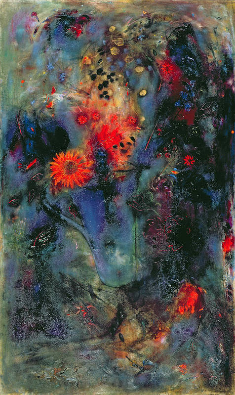 Sunflowers; Flowers; Flower; Abstract; Still Life Poster featuring the painting Sunflower by Jane Deakin