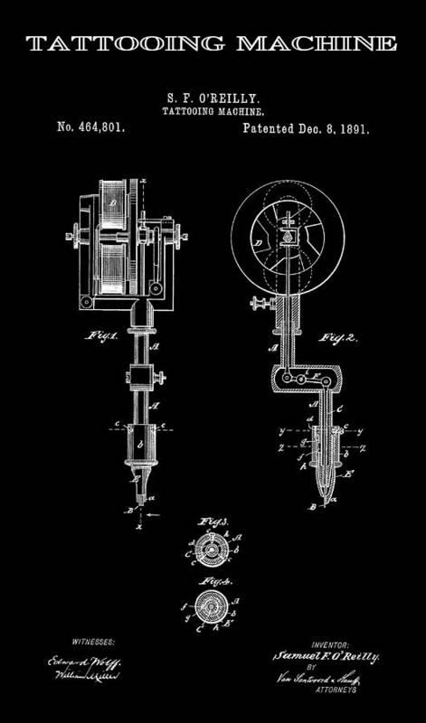 Tattoo Poster featuring the digital art Tattooing Machine 3 Patent Art 1891 by Daniel Hagerman