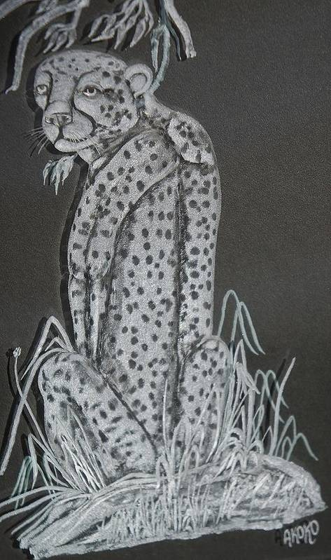 Fineartamerica Poster featuring the painting Cheetah by Akoko Okeyo