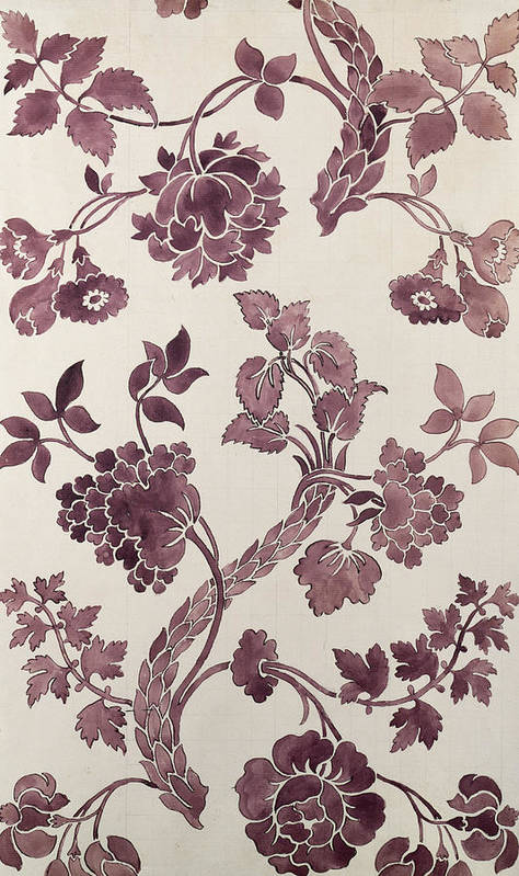 William Poster featuring the tapestry - textile Design For A Silk Damask by Anna Maria Garthwaite