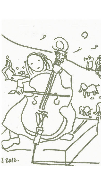 Cello Poster featuring the drawing Muse by Samuel Zylstra