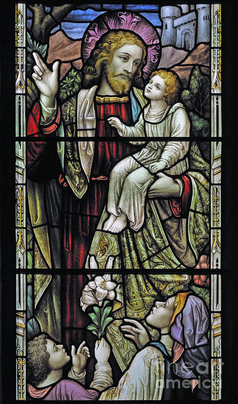 Christ Children Blessing Stained Glass Window Detail Church Glenmuick Ballater Royal Deeside Aberdeenshire Scotland United Kingdom Europe Poster featuring the photograph Christ With The Children. by Stan Pritchard
