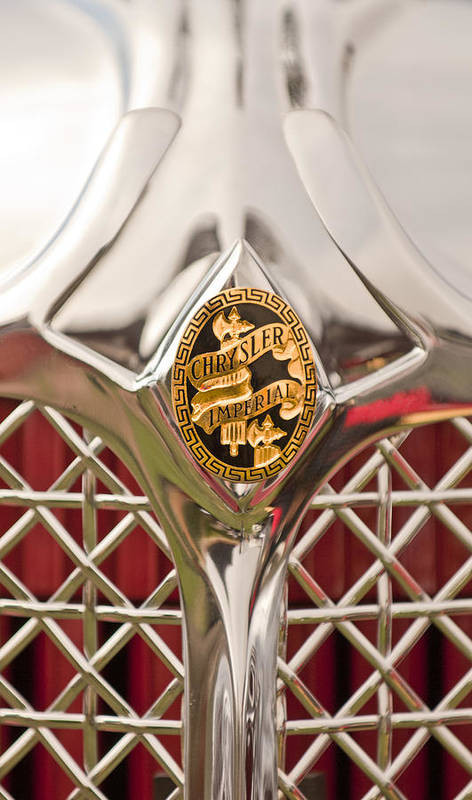 1931 Chrysler Cg Imperial Lebaron Roadster Poster featuring the photograph 1931 Chrysler Cg Imperial Lebaron Roadster Grille Emblem by Jill Reger