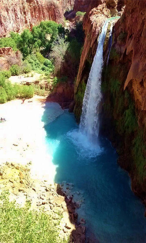 Waterfall Poster featuring the photograph Havasu Falls by Eric Fellegy