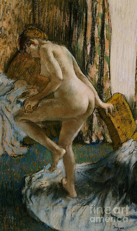 Nude Poster featuring the pastel After The Bath by Edgar Degas