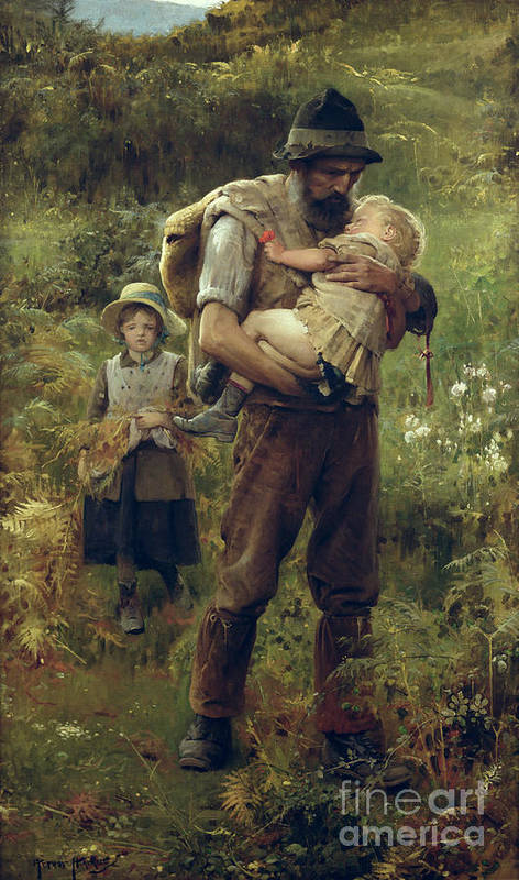 Heavy Poster featuring the painting A Heavy Burden by Arthur Hacker