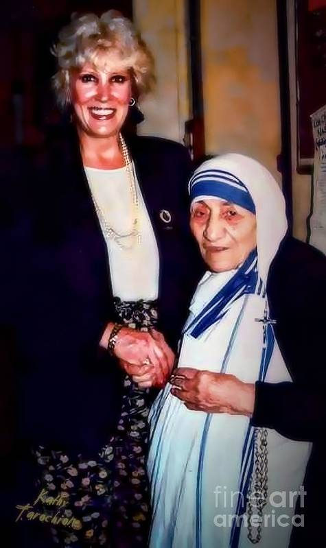 Mother Teresa Poster featuring the digital art A Vist With Mother Teresa by Kathy Tarochione