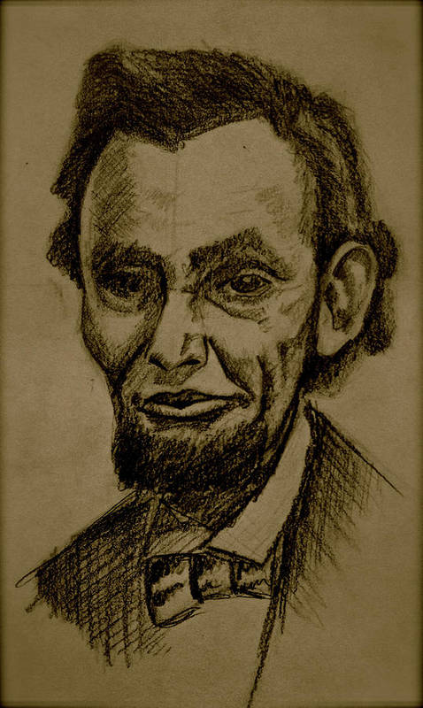 Abraham Lincoln Poster featuring the drawing Abraham's Lincoln. by Katie Ransbottom