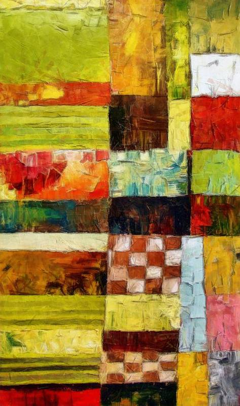 Patchwork Poster featuring the painting Abstract Color Study With Checkerboard And Stripes by Michelle Calkins