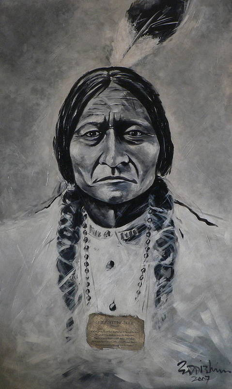 Figurative Poster featuring the painting Chief Sitting Bull by Eddie Lim