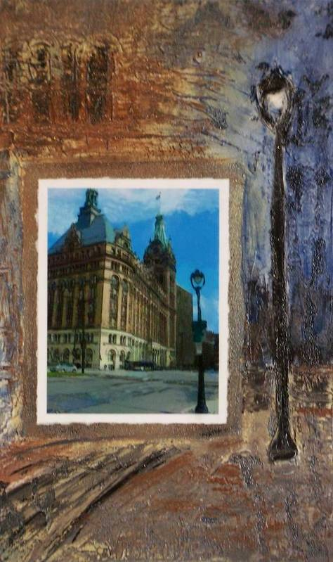 City Hall Poster featuring the mixed media City Hall And Street Lamp by Anita Burgermeister