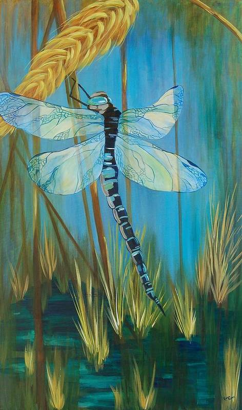 Dragonfly Poster featuring the painting Dragonfly Fantasy by Karen Dukes