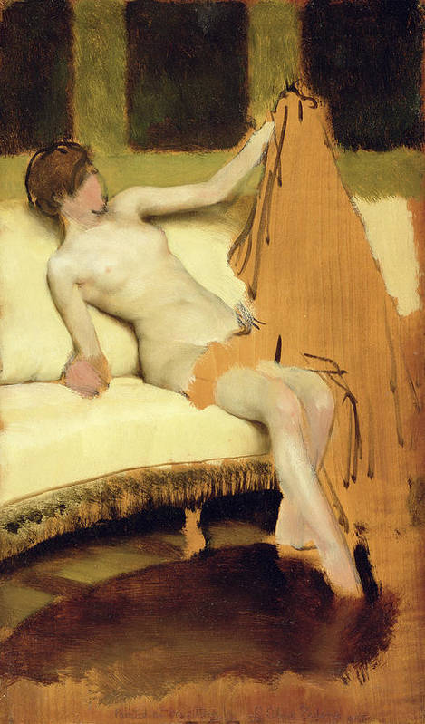 Female Nude (oil On Panel) Nude Poster featuring the painting Female Nude by Sir Lawrence Alma-Tadema
