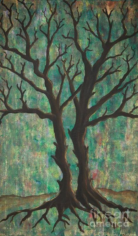 Trees Poster featuring the painting Friends by Jacqueline Athmann