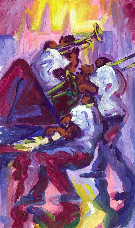 Trio Poster featuring the painting Jazz Trio by Saundra Bolen Samuel