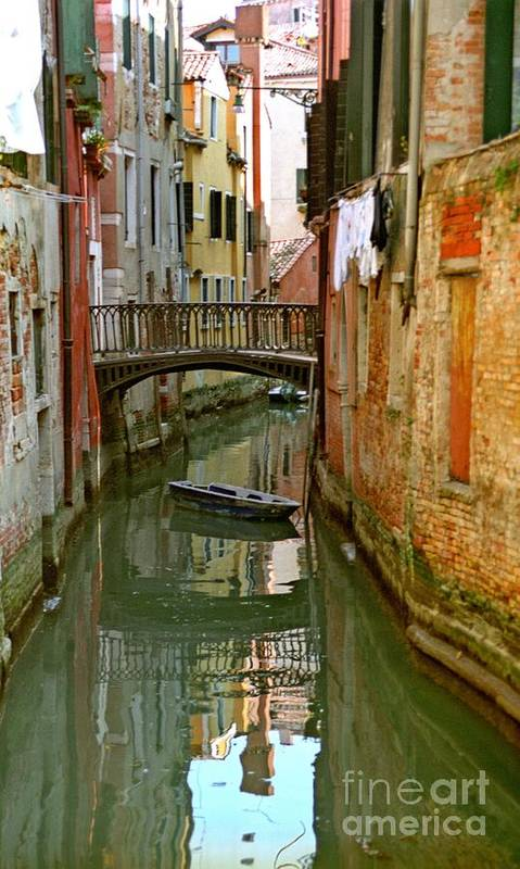Venice Poster featuring the photograph Little Boat On Canal In Venice by Michael Henderson