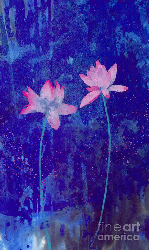 Free Style Pink Lotus Flowers In Bluish Background. This Is A Contemporary Chinese Ink And Color On Rice Paper Painting With Simple Zen Style Brush Strokes.  Poster featuring the painting Lotus I by Mui-Joo Wee