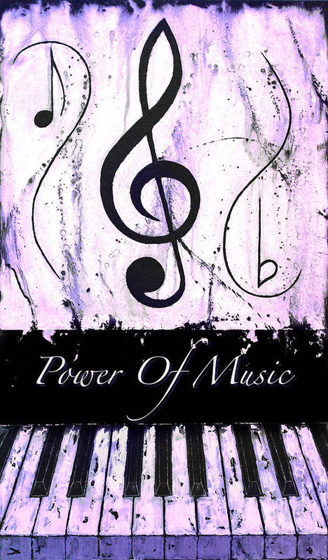 Power Of Music Purple Poster featuring the mixed media Power Of Music Purple by Wayne Cantrell