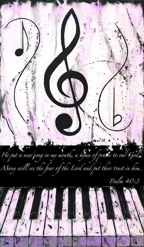 Psalm 40/3 Purple Poster featuring the mixed media Psalm 40/3 Purple by Wayne Cantrell