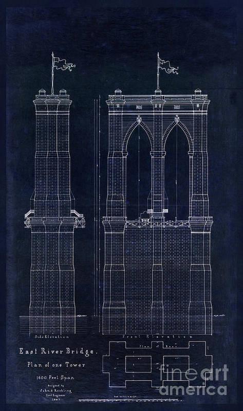 Restored antique blueprint of the brooklyn bridge east river bridge 1867 poster featuring the drawing restored antique blueprint of the brooklyn bridge east river bridge malvernweather Gallery