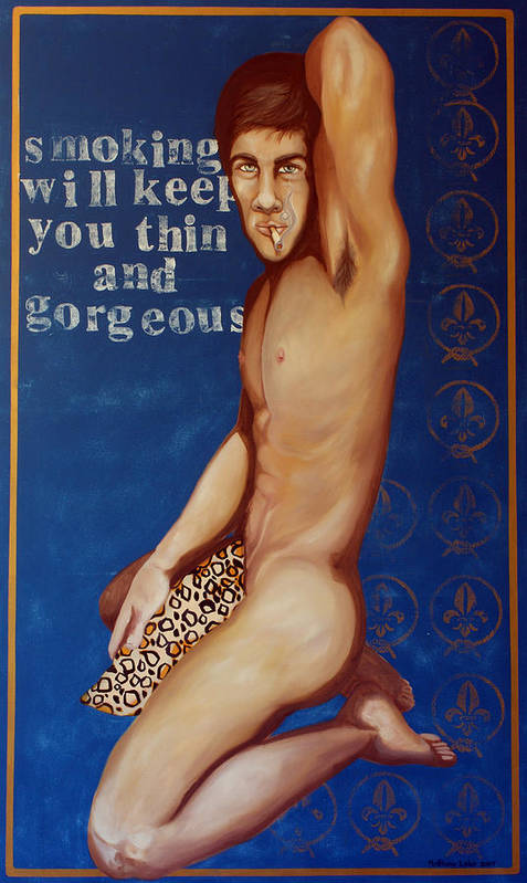 Oil Poster featuring the painting Smoking Will Keep You Thin And Gorgeous by Matthew Lake