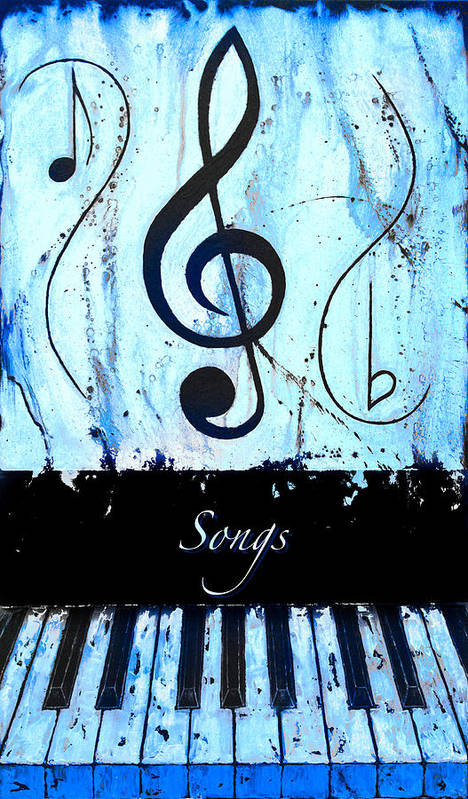 Songs - Blue Poster featuring the mixed media Songs - Blue by Wayne Cantrell