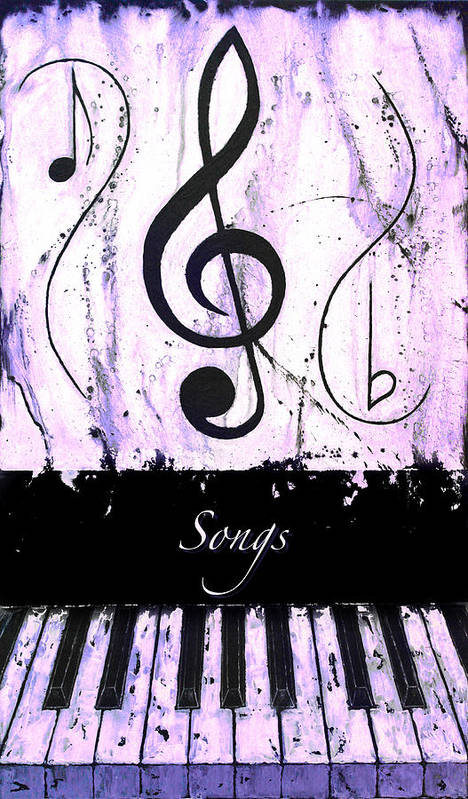 Songs - Purple Poster featuring the mixed media Songs - Purple by Wayne Cantrell